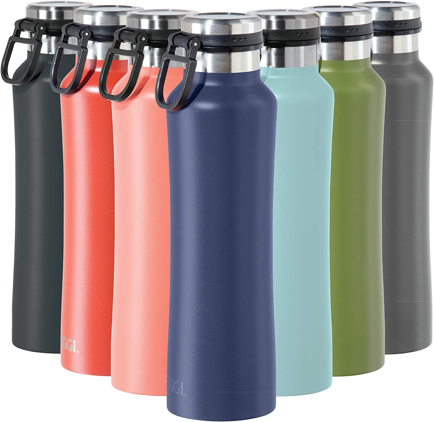 Oggi Summit Vacuum Insulated Stainless Steel Bottle - Midnight Blue, 19 oz, with flip top lid and easy grip carrying handle for hot and cold beverages.