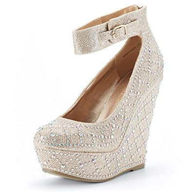 d0d31a34ac4f DREAM PAIRS Women's Height_Chaos Gold Fashion Wedge Platform Pumps Shoes  Size 5 B(M)