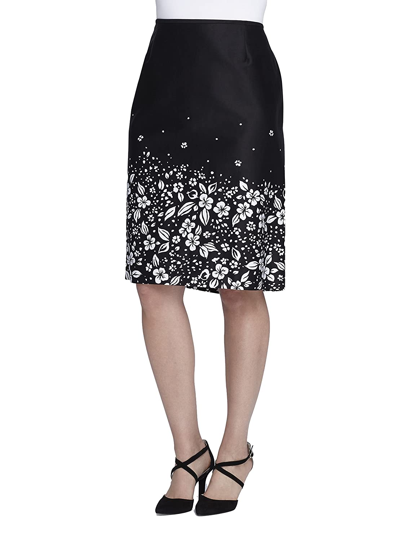 Tahari Floral BorderPrint Poplin Skirt, Black White, 14W