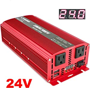 Cantonape 1500W DC 24V to 110V AC Power Inverter with Dual AC Outlets and Dual 3.1A USB Car Adapter, Replaceable Fuses and Cigarette Lighter for Car Home Laptop Truck