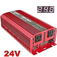 Cantonape - Inversor de corriente de 1500 W CC 24 V a 110 V CA con dos salidas de CA y adaptador de coche USB dual de 3…