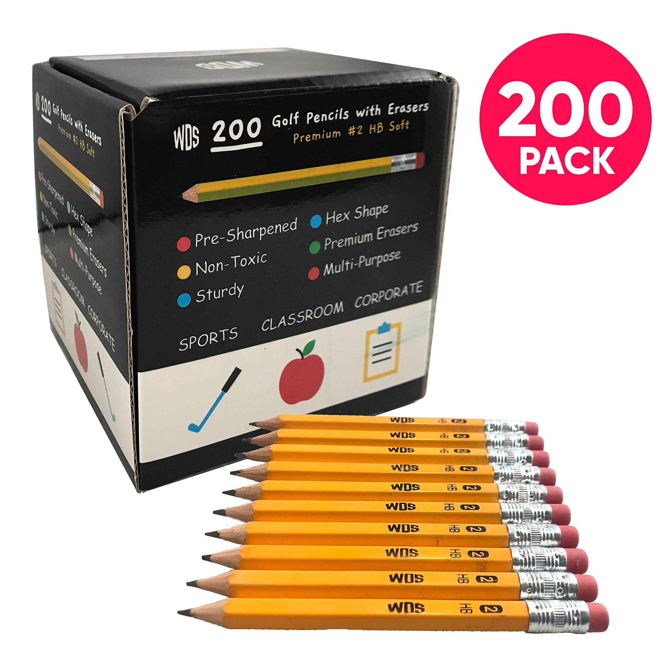 200 Golf Pencils with Erasers for Kids - Bulk Mini Pencils Presharpened in Colorful Box - Small Wood Pencil For Students Teachers Handwriting Classroom Sports Office Church Pew - Premium #2 HB Soft by WDS