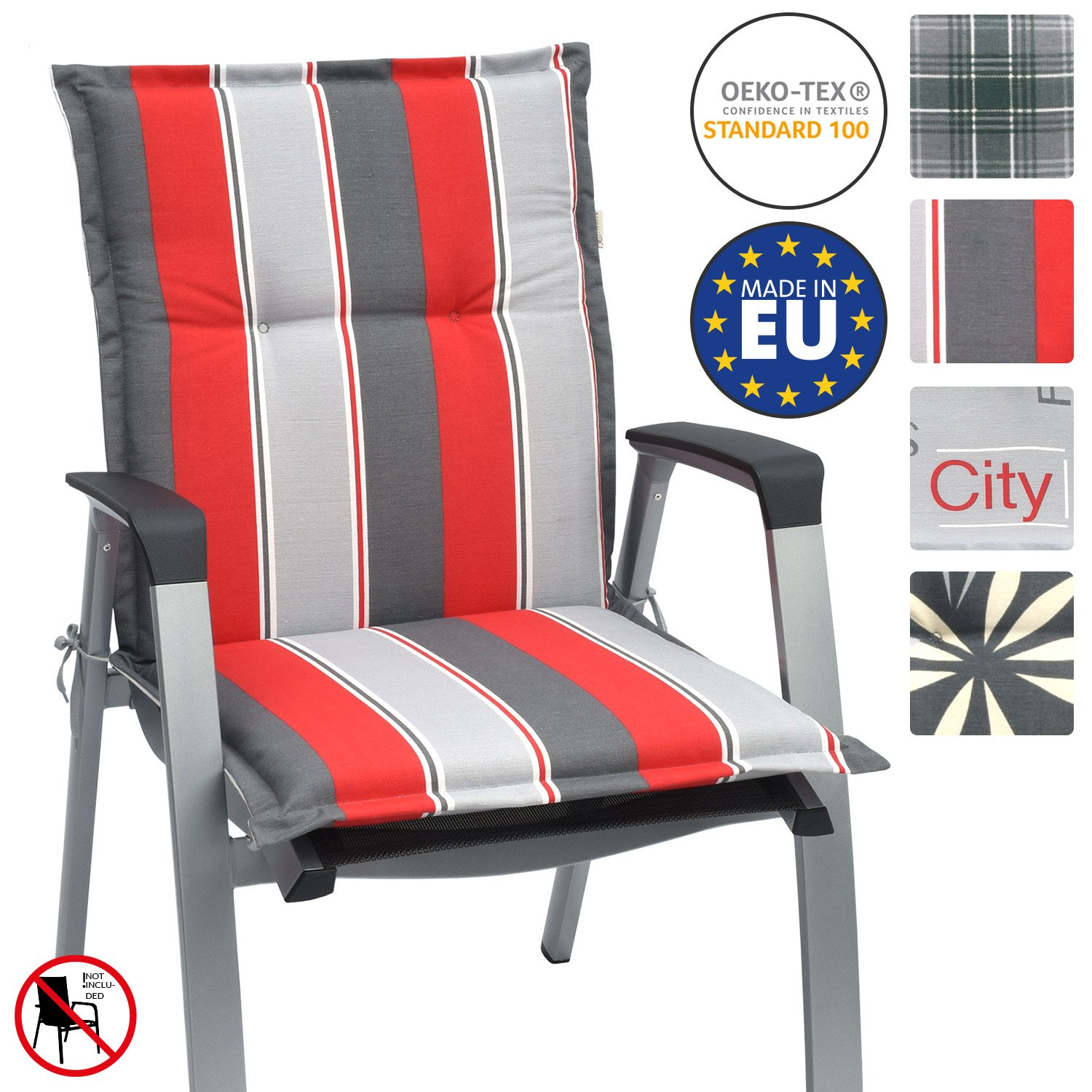 Beautissu Garden Chair Cushion Loft NL 100 x 50 x 6 cm Seatpad and Backrest with Soft Foamcore Padding Design City