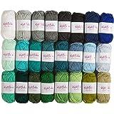 Knit Picks Brava Mini Pack Worsted Premium Acrylic Yarn - 24 Pack (25 Gram Minis, Blues)