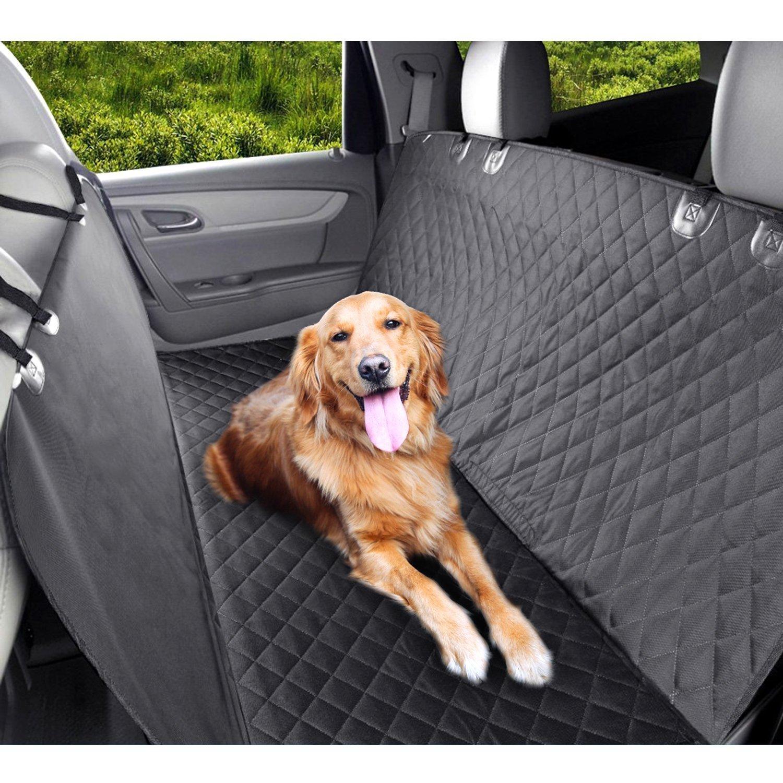 PEDY Housse de Siège Protection Voiture Auto Couverture Tapis Etanche Noir pour Chien Pet Banquette Animal FM