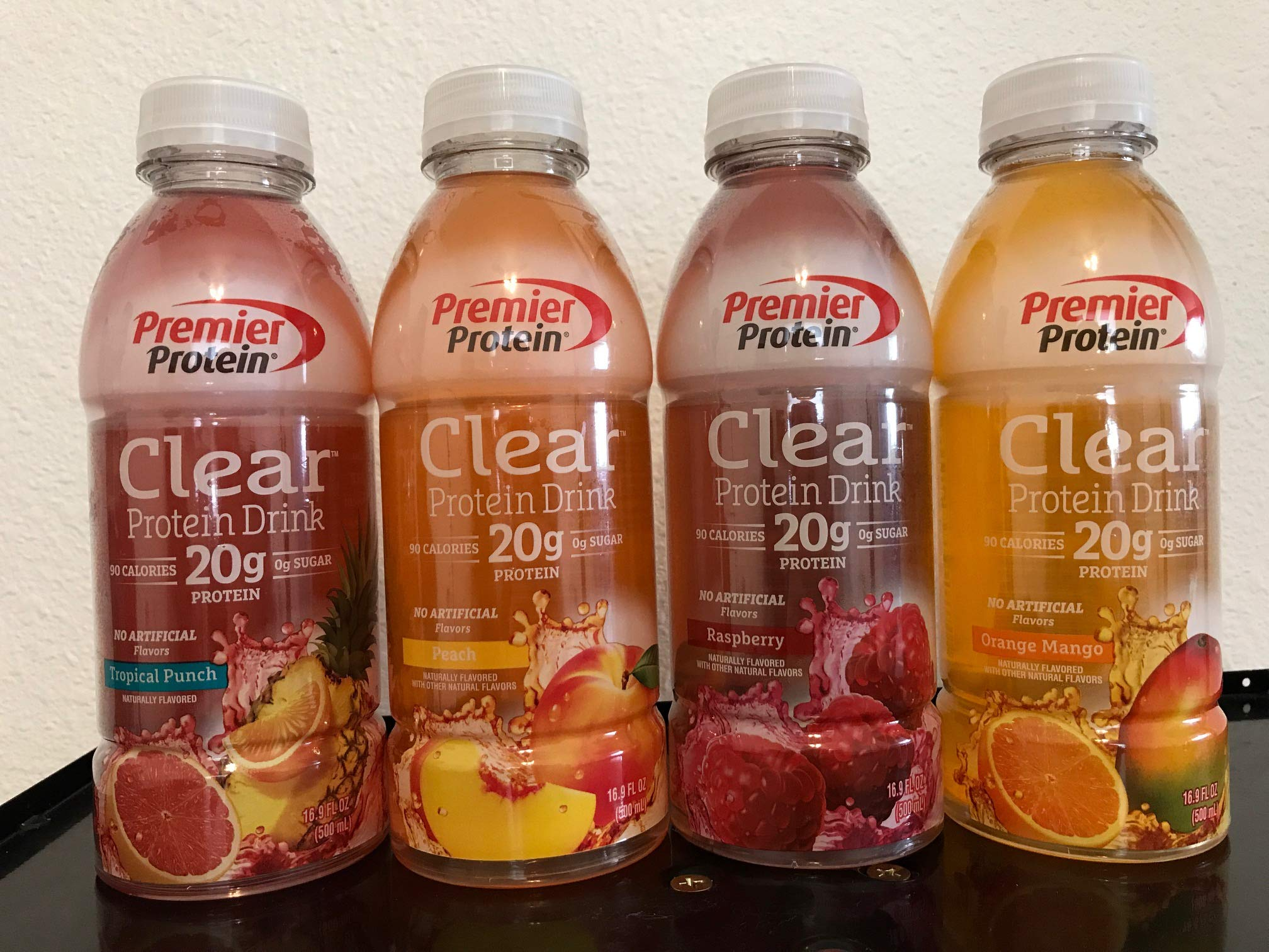 Premier Protein Clear Protein Drink Variety Pack, Tropical Punch, Raspberry, Peach, Orange Mango, 16.9 fl oz Bottle, 1 Bottle Each Flavor, Total 4 Flavors by Premier Protein Clear Drinks