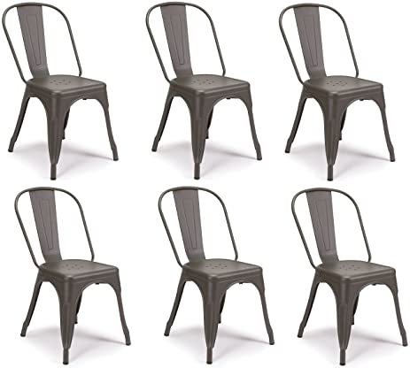 SET OF 6 Tolix Style Iron Chairs, COOPER GunMetal Matte Espresso,  Sturdy/Stackable