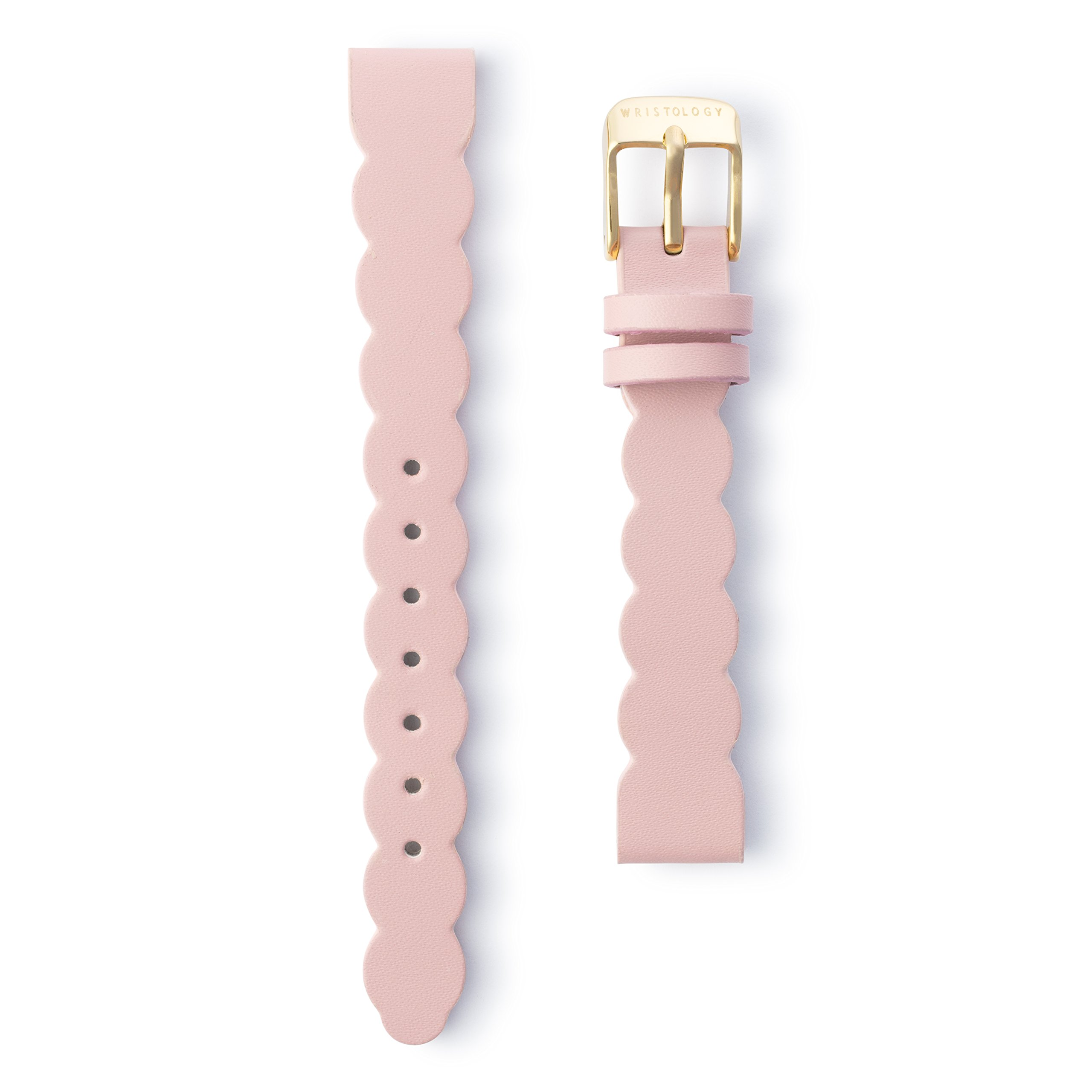 Wristology Gold 14mm Womens Easy Interchangeable Stitched Leather Watch Band (Pink Scallop)