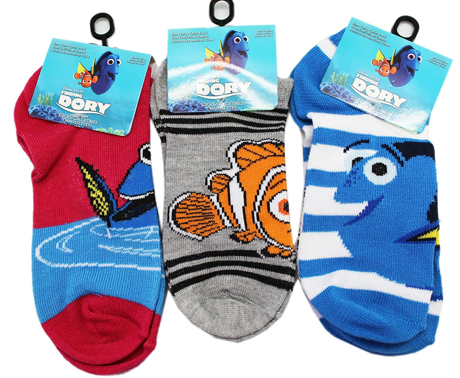 Amazon.com: Disney Pixars Finding Dory Little Kids Sock Collection (Sock Size 4-6, 3 Pairs): Clothing