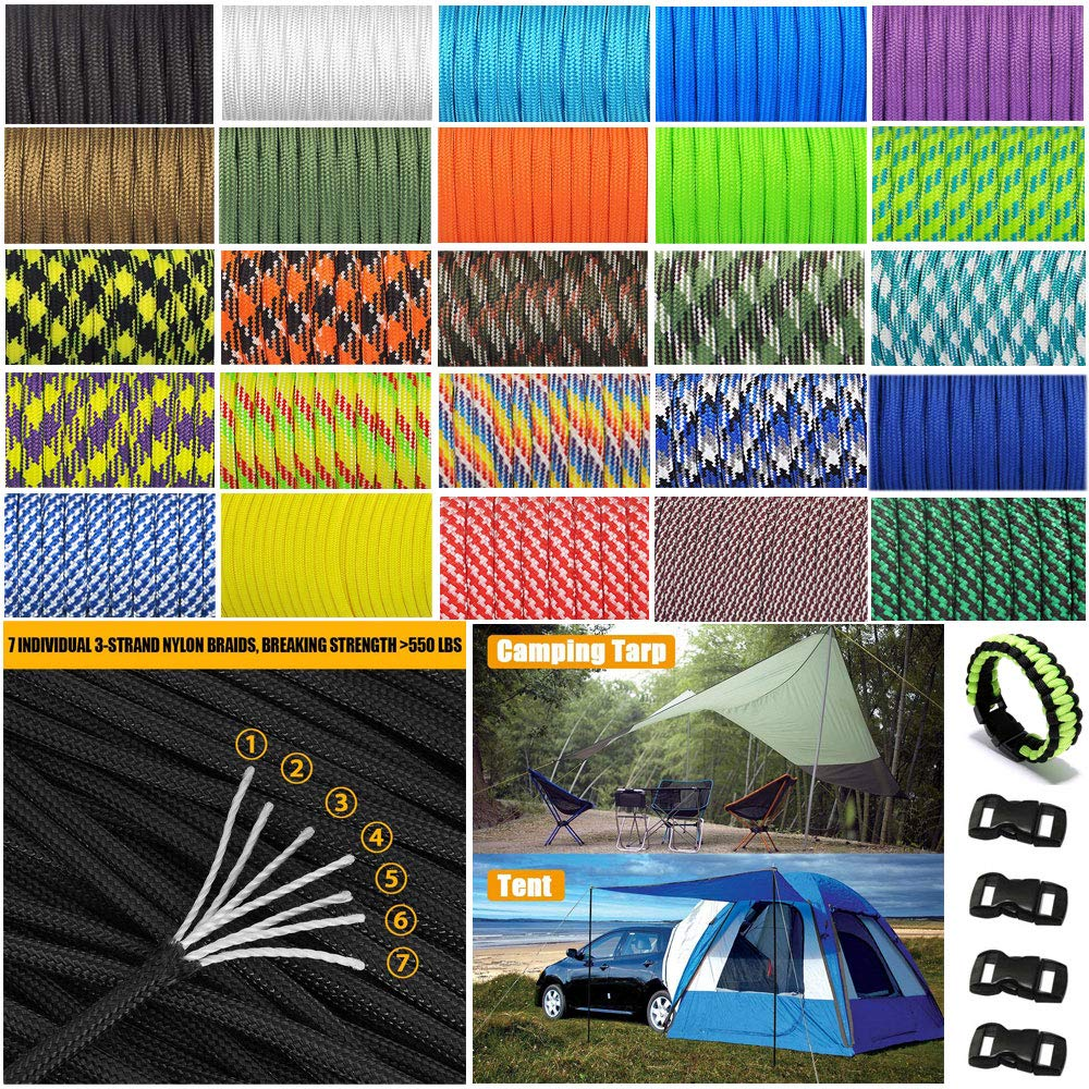 XIAONAN 31M Genuine 550lb Paracord 7 Strand Parachute Cord Type III Mil  Spec with 4 Buckles >250kg - 7 8g/m - 100% Polyester
