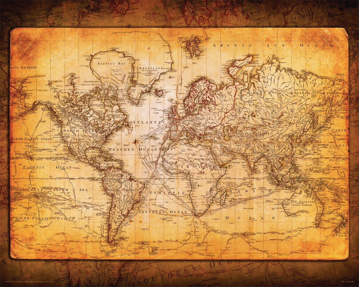Culturenik World Map Antique Vintage Old Style Decorative Educational Classroom Poster Print 3