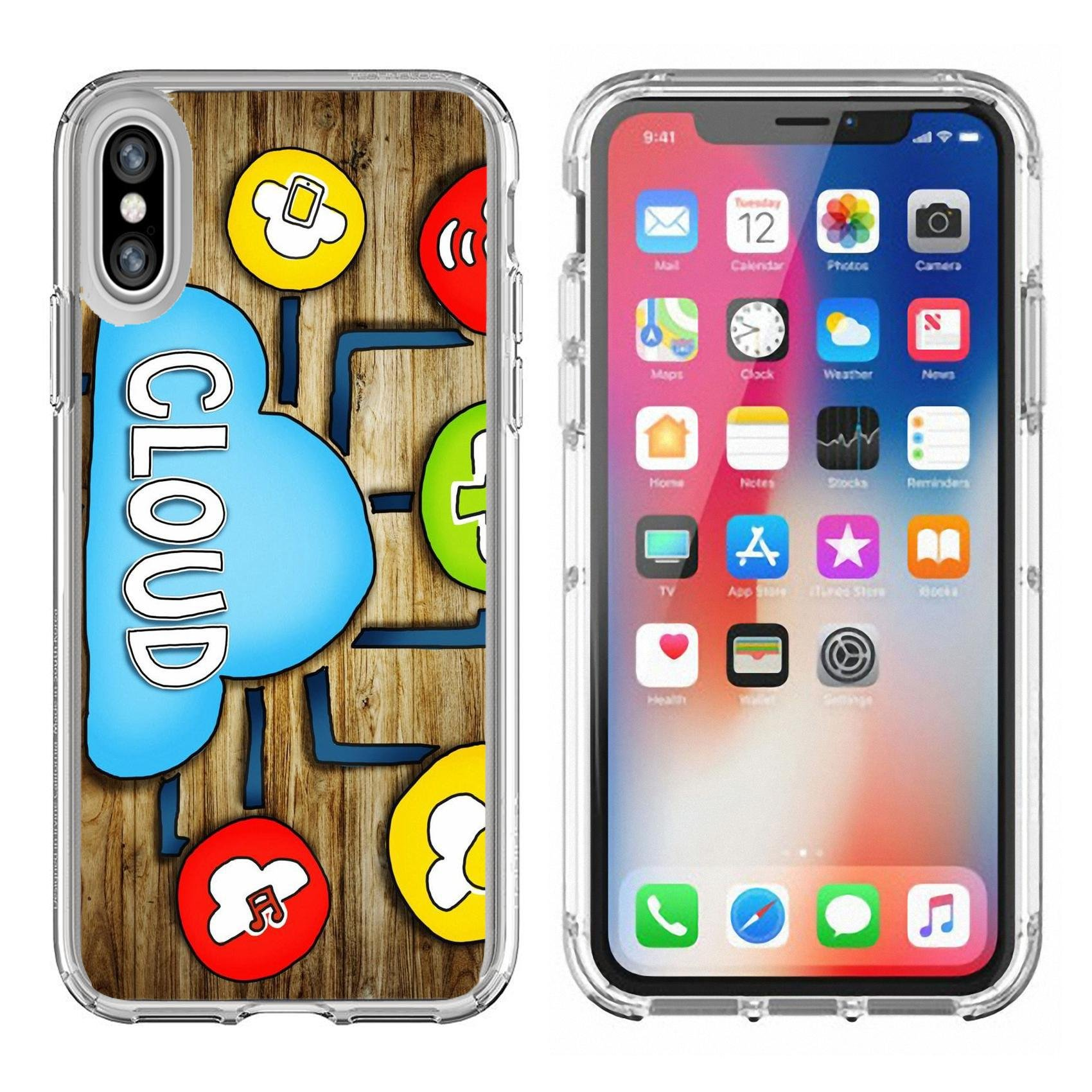 Luxlady Apple iPhone X Clear case Soft TPU Rubber Silicone Bumper Snap Cases iPhoneX IMAGE ID: 34402076 Aerial View of People and Cloud Computing Concepts by Luxlady