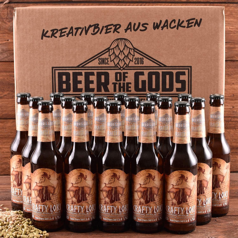 Wacken Brauerei Crafty Loki - Pack de cervezas caseras - 18 botellas de 0,33 l de cerveza nórdica ale clara - La cerveza de los dioses - 2° premio en el World