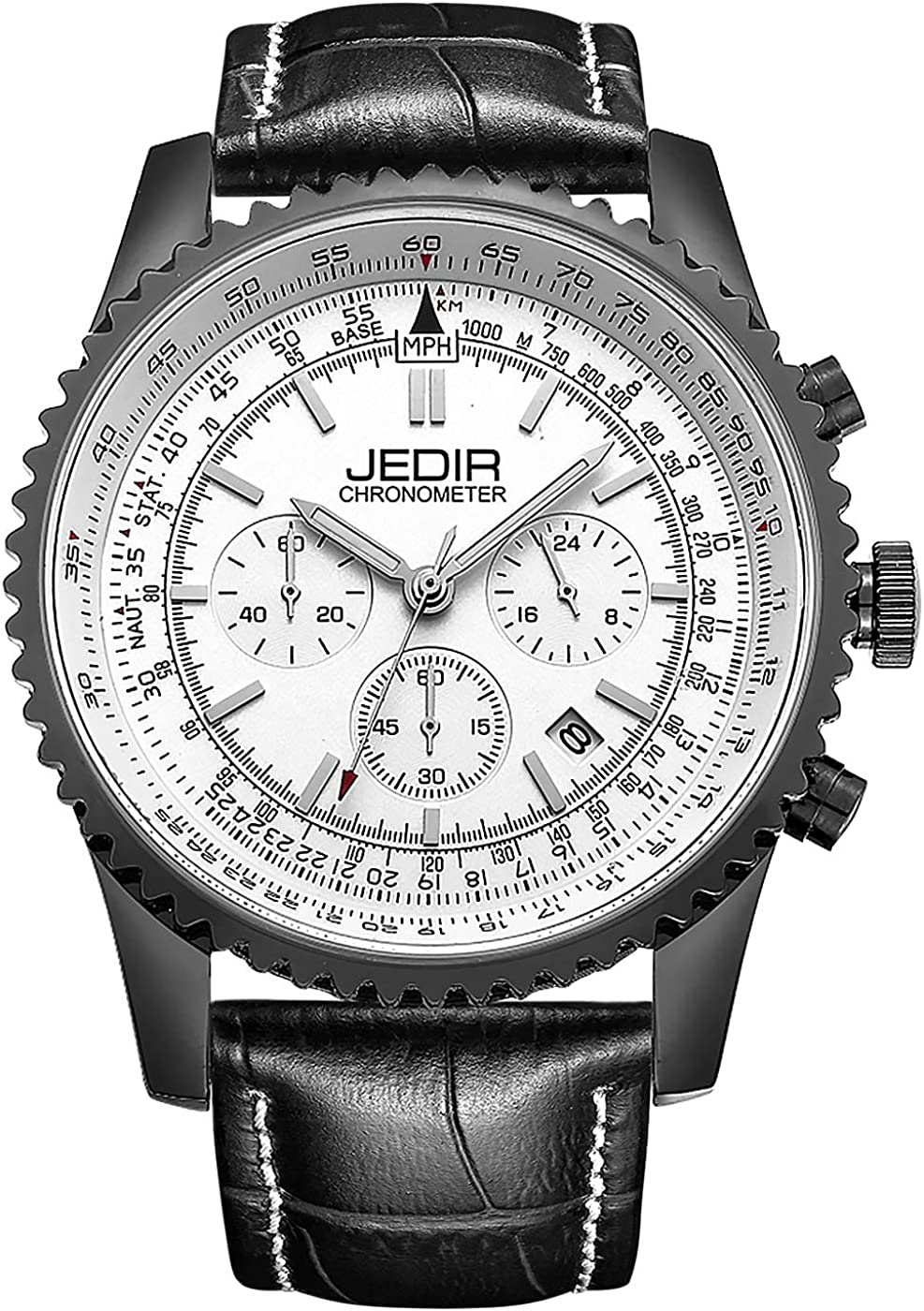 JEDIR Men s Chronograph Watch Quartz Wristwatch Classic Design Date Calendar and Leather Band