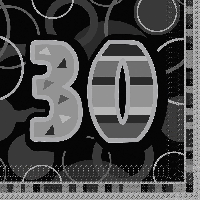 Pack of 16 Glitz Black 13th Birthday Paper Napkins Unique Party 28486