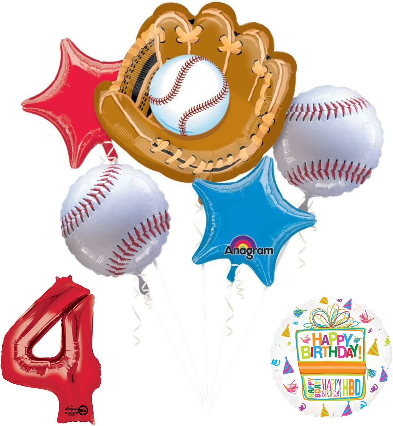 Baseball Player 5th Birthday Party Supplies Balloon Bouquet Decorations