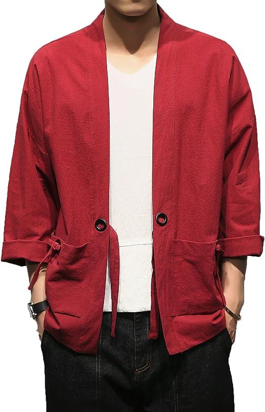 TALLA XL. Mirecoo - Chaqueta de algodón para hombre, diseño japonés Happi Kimono Haori