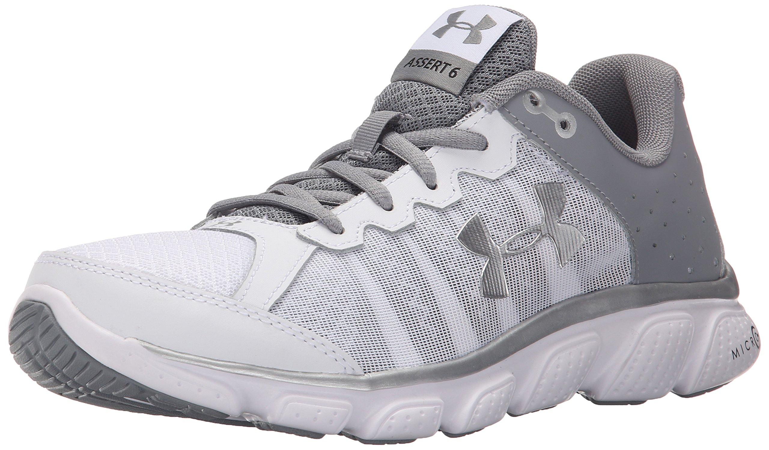 Under Armour Women's Micro G Assert 6 Running Shoe, White (100)/Steel, 6.5 by Under Armour
