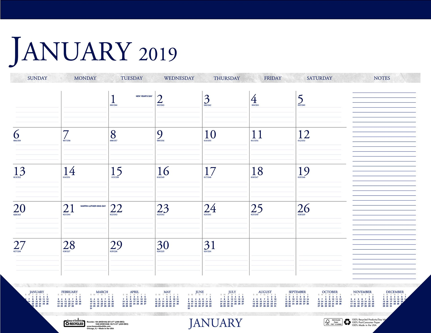 House of Doolittle 2019 Monthly Desk Pad Calendar, Classic With Notes Section, 22 x 17 Inches, January - December (HOD164-19)