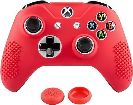 eXtremeRate Funda Silicona para Mando Xbox One Carcasa Suave Cubierta Antideslizante Protectora para Mando Controlador de Xbox One S/X con Dos Grips de Joyticks(Rojo): Amazon.es: Electrónica