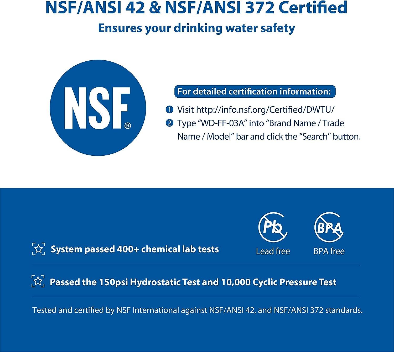R/éduisant de 99/% Le Chlore Waterdrop Filtres de Remplacement Certifi/és NSF WD-FF-03 pour Syst/ème de Filtration de Robinets /à Bloc de Carbone 3 dune Dur/ée de Vie allant jusqu/à 9 Mois