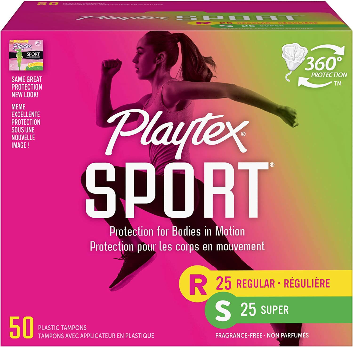 Playtex Sport Tampons with Flex-Fit Technology, Regular & Super Multi Pack, Unscented - 50Count: Health & Personal Care