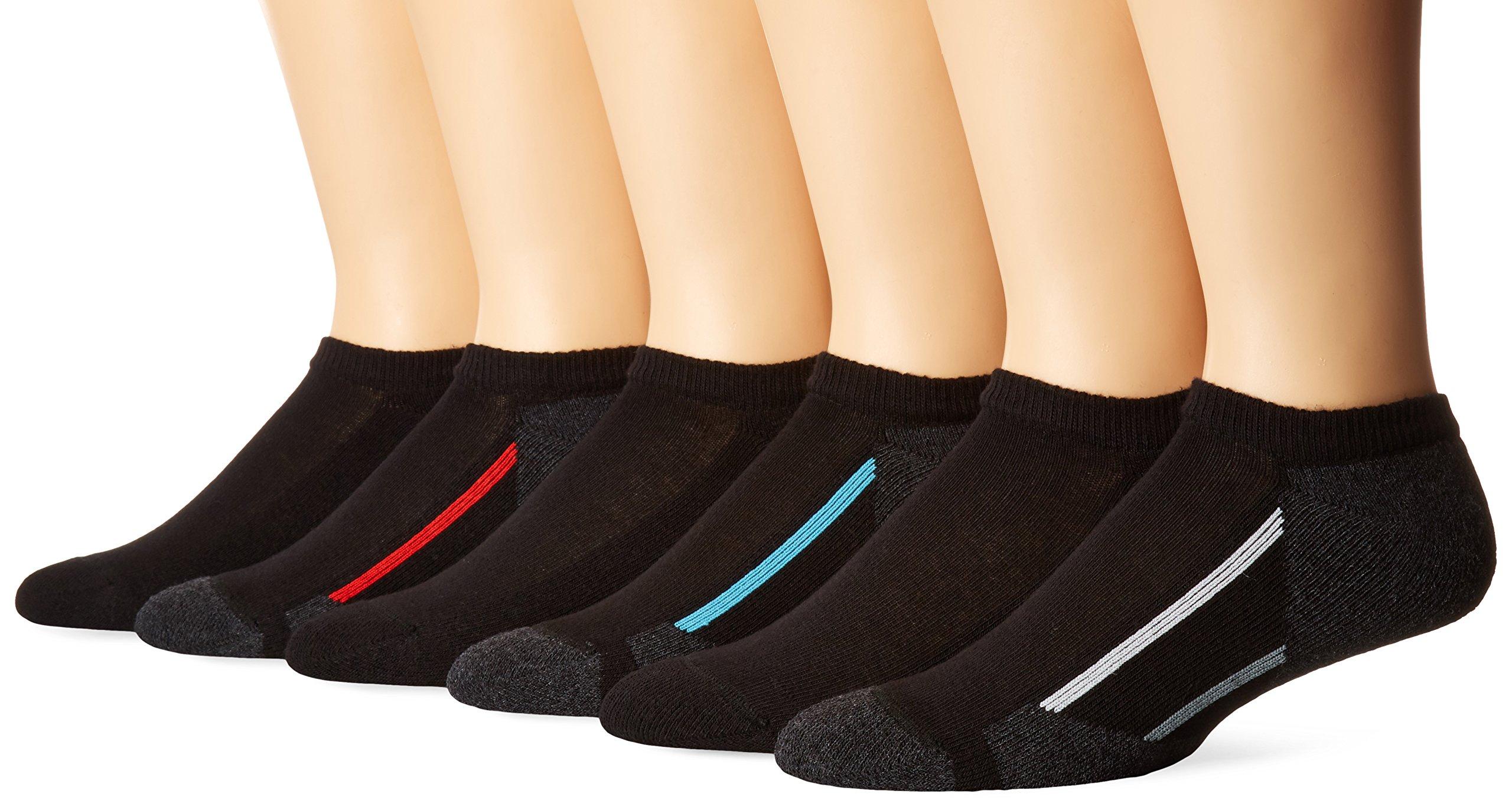 Hanes Big Boys' 12-Pack No Show Socks,Black,Large(3-9)