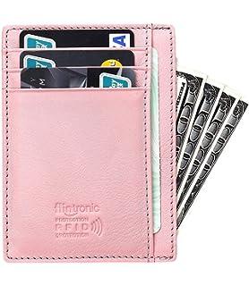 34e1d05e6c07 flintronic Portefeuille en Cuir, Rosé Etui RFID Blocage Porte Carte de  Crédit, Porte-
