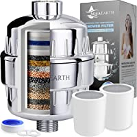 Aqua Earth 15 Stage Shower Filter with Vitamin C Shower Filters for Hard Water Unique Coconut Shell Activated Carbon…