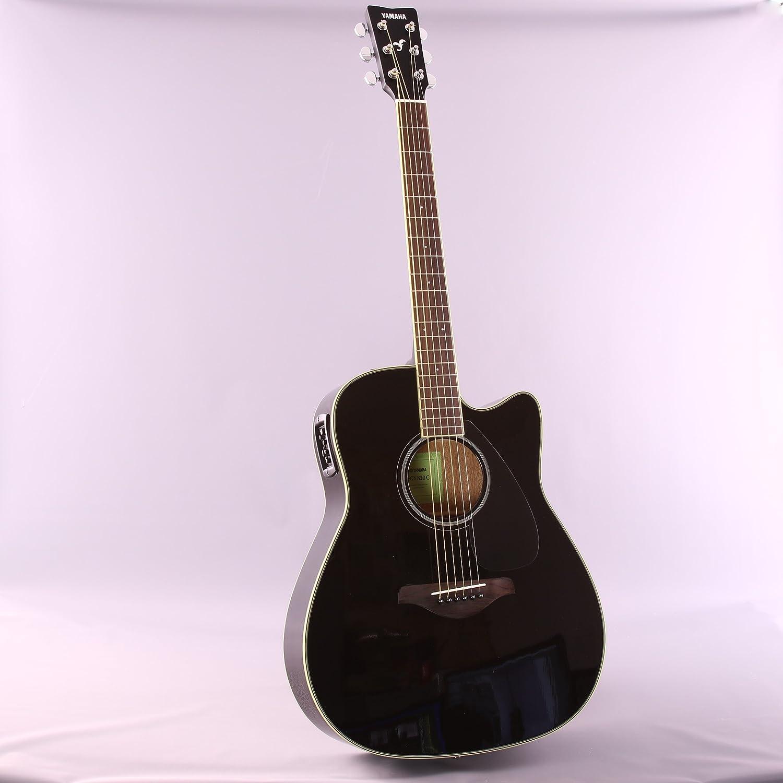 Yamaha fgx820 C Folk Guitarra acústica con cutaway guitarra eléctrica, parte superior sólida, Madera de caoba parte trasera y los laterales, ...