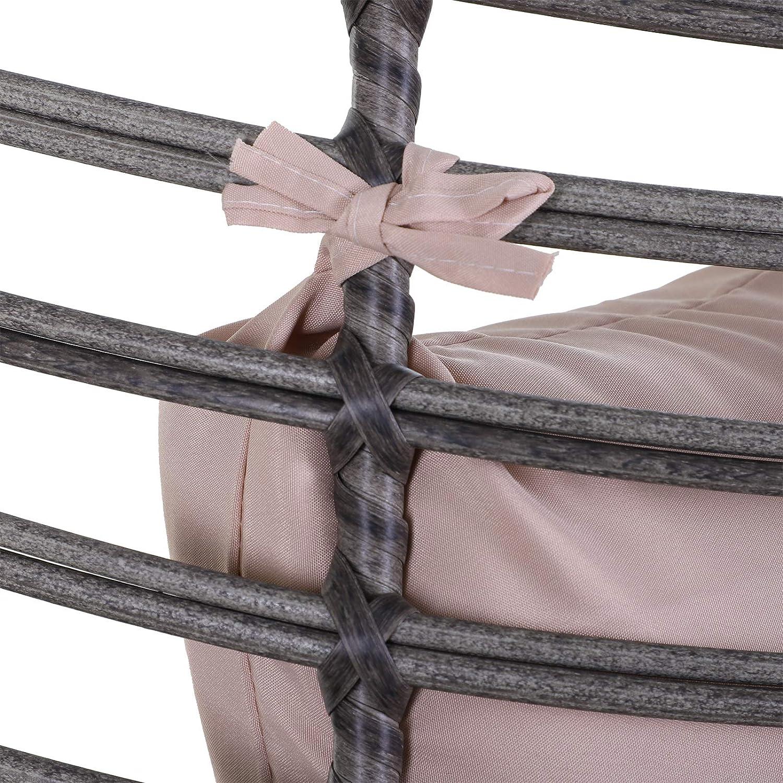 Outsunny Poltrona in Vimini Rattan con Morbido Cuscino per Interni ed Esterni Grigio e Beige Forma a Goccia Design Elegante Antiscivolo 101x89x156cm