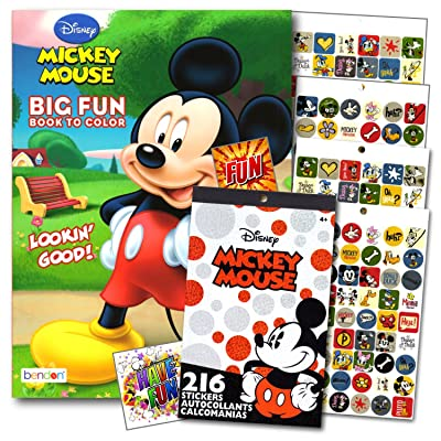 Mickey Mouse Coloring Book With Stickers Set - 96 Pg Mickey Coloring Activity Book and Mickey Mouse Stickers Bundled with 2 Specialty Separately Licensed GWW Reward Stickers: Toys & Games