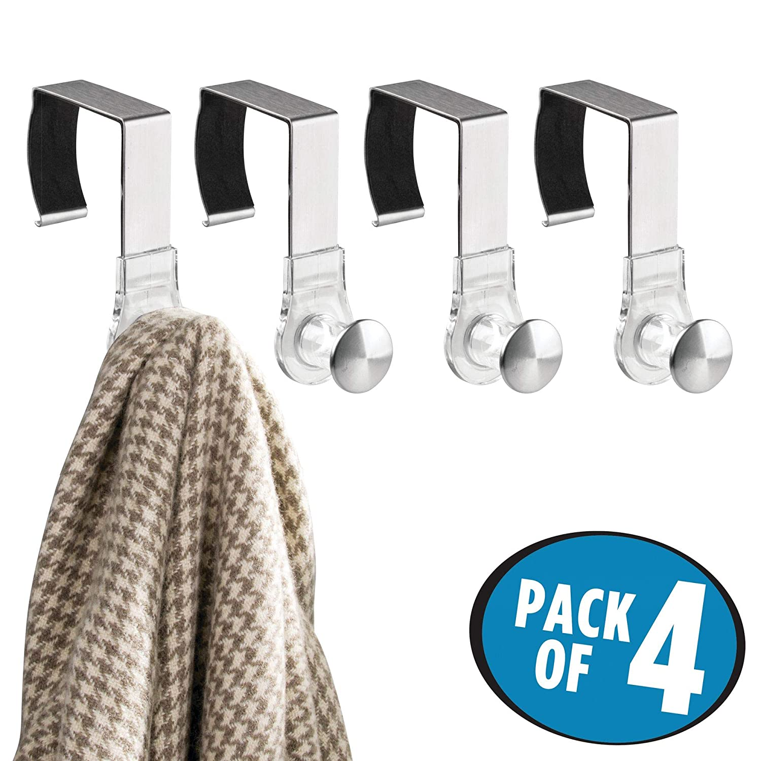 Keychain Bags Wall Panel Hangers for Hanging Accessories Coats Hats Purses mDesign Modern Metal and Plastic Office Over The Cubicle Storage Organizer Hooks 6 Pack Clear//Brushed MetroDecor