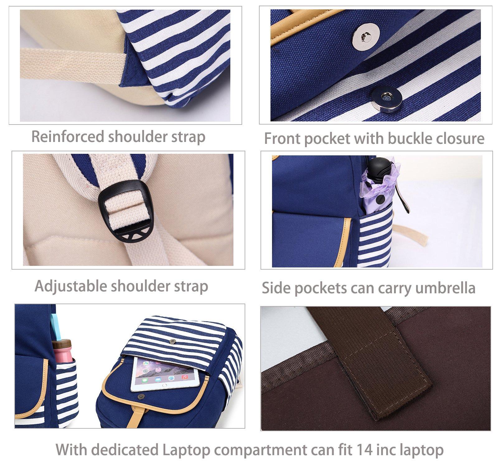 Abshoo Causal Travel Canvas Rucksack Backpacks for Girls School Bookbags (Navy) by abshoo (Image #3)