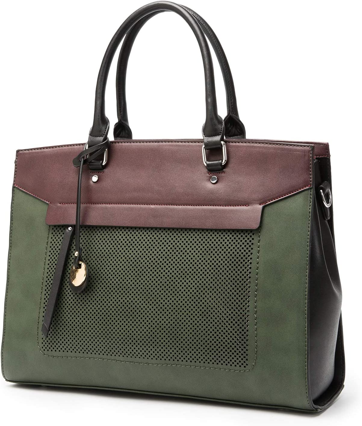 Two Flowers Laptop Tote Bag - Fits 15 Inch Laptop Large Tote Bag Briefcase for Carrying Case Tote Bag (Green)