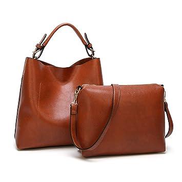 31f0821f3f527 Damen Handtasche Groß Henkeltasche PU Leder 2 Stück Set mit Schultertasche  Umhängetasche Crossbody Tasch für Frauen