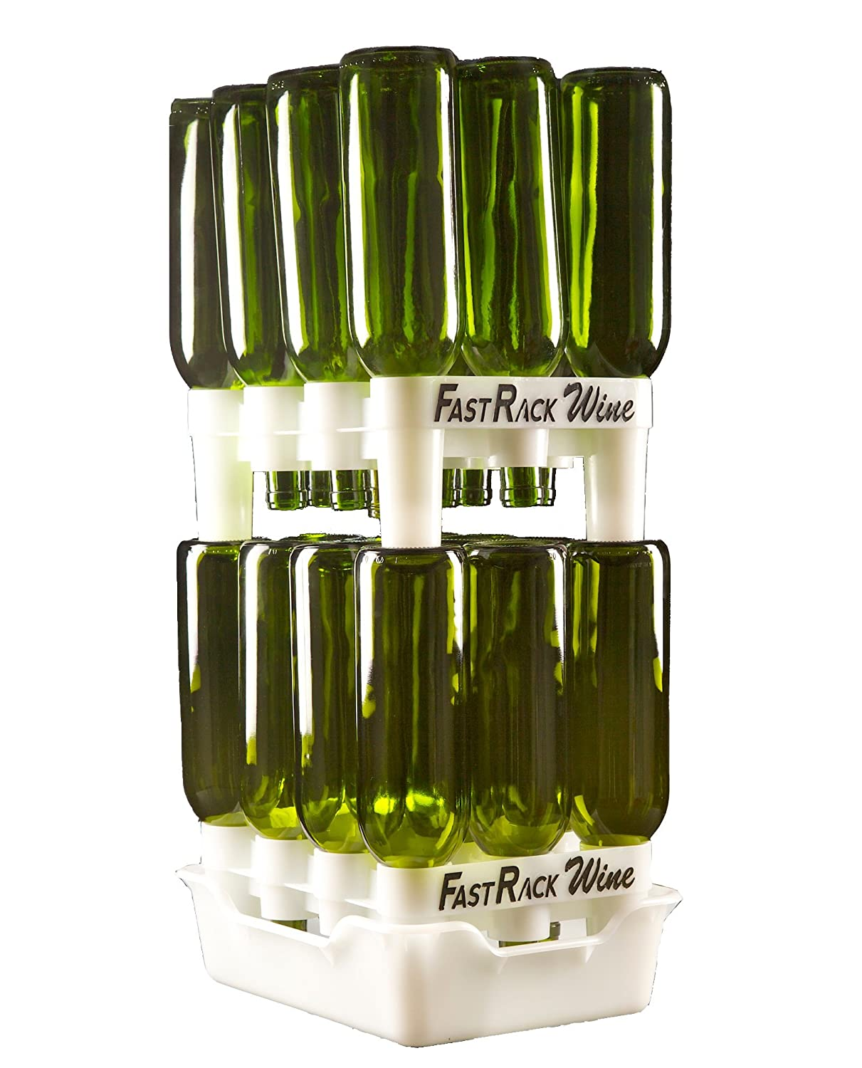 FastRack Bottle Drying Rack - Bottle Drying Tree alternative; Dry & Store your Wine or Bomber/Belgian Bottles; Perfect addition to your Wine Fermentation Kit (FastRack12 Two Racks & One Tray) frw