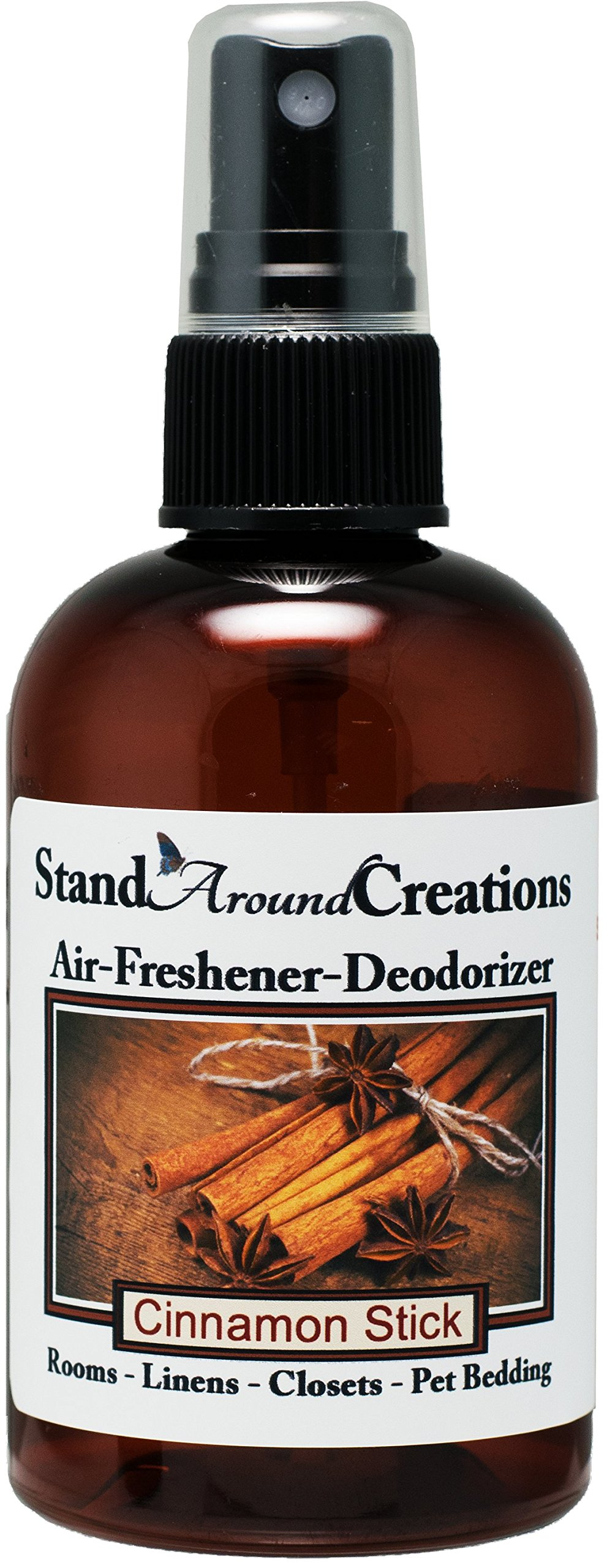 Concentrated Spray For Room / Linen / Room Deodorizer / Air Freshener - 4 fl oz - Scent - Cinnamon Stick: A full bodied scent of rich spicy cinnamon. This fragrance is infused with natural essential oils, including Cinnamon, Clove, Cinnamon Bark and Nutme