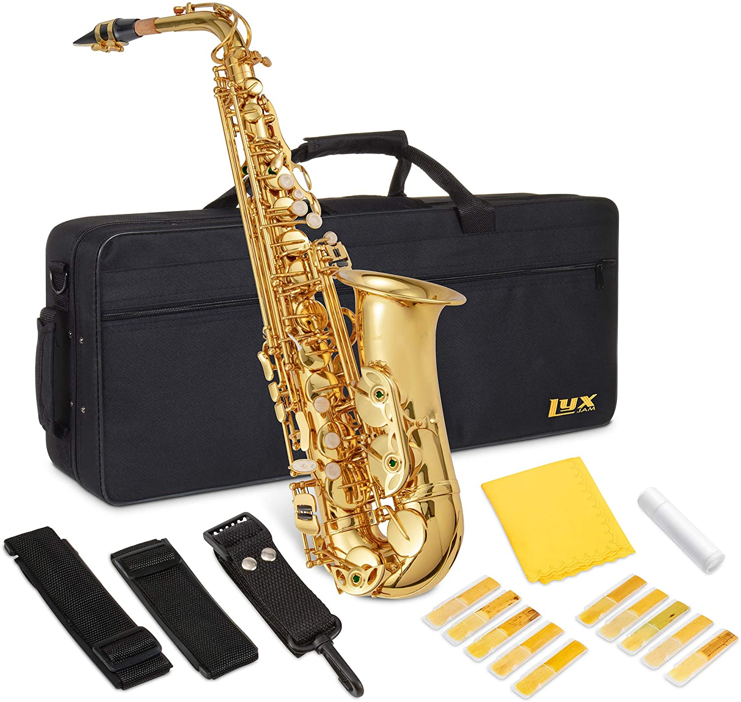 LyxJam Alto Saxophone E Flat Brass Sax Beginners Kit, Mouthpiece, Neck Strap, Cleaning Cloth Rod, Gloves, Hard Carrying Case With Removable Straps,10 Bonus Reeds - Gold Lacquer