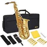 "LyxJam Alto Saxophone "" E Flat Brass Sax Beginners Kit, Mouthpiece, Neck Strap, Cleaning Cloth Rod, Gloves, Cork Grease…"