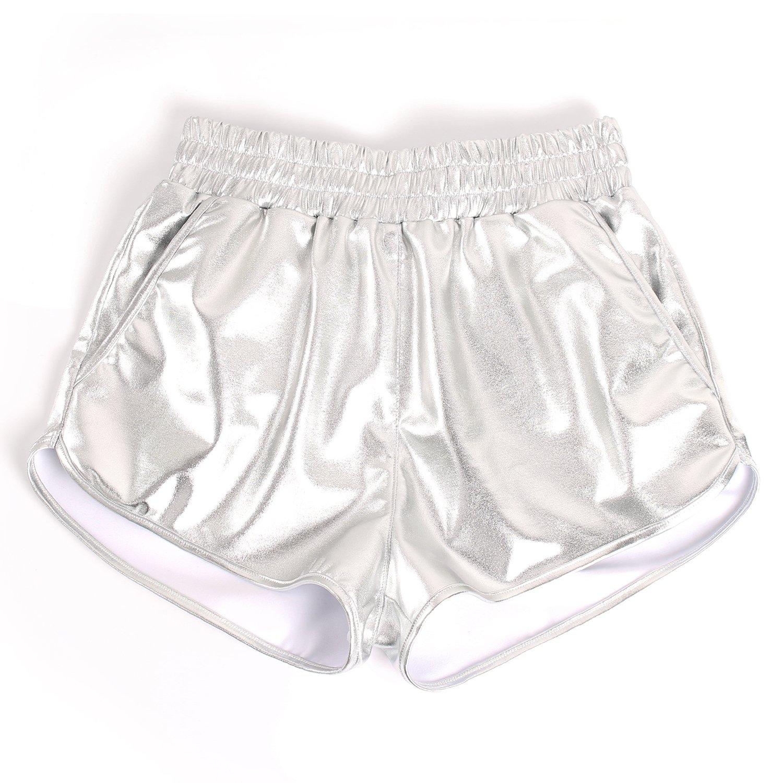 MAKARTHY Womens Yoga Hot Shorts Shiny Metallic Pants Rave Booty Dance Silver-M