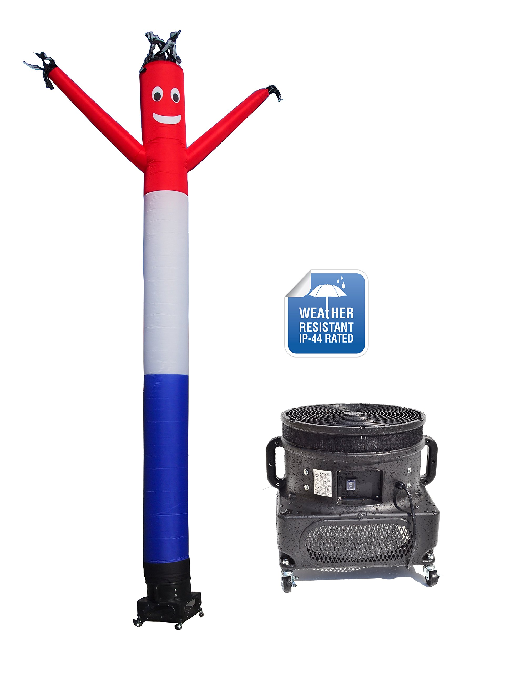 LookOurWay Air Dancers Inflatable Tube Man Complete Set with 1 HP Weather-Resistant Sky Dancer Blower, 20-Feet, Red/White/Blue