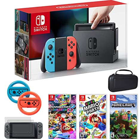 Amazon.com: Nintendo Switch Console Blue/Red Joy Con + Mario ...