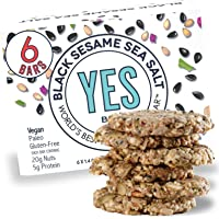 The YES Bar Black Sesame Sea Salt – (6Count) Plant Based Protein, Decadent Snack bar – Vegan, Paleo, Gluten Free, Low…