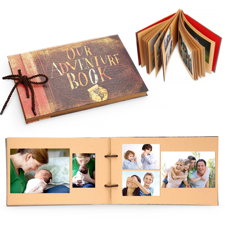 ROYI Handmade DIY Family Scrapbook Our Adventure Book Pixar Up Photo Album for Craft Paper, Wedding Guest Book, Wedding Photo Album, DIY Anniversary Travel Memory Book