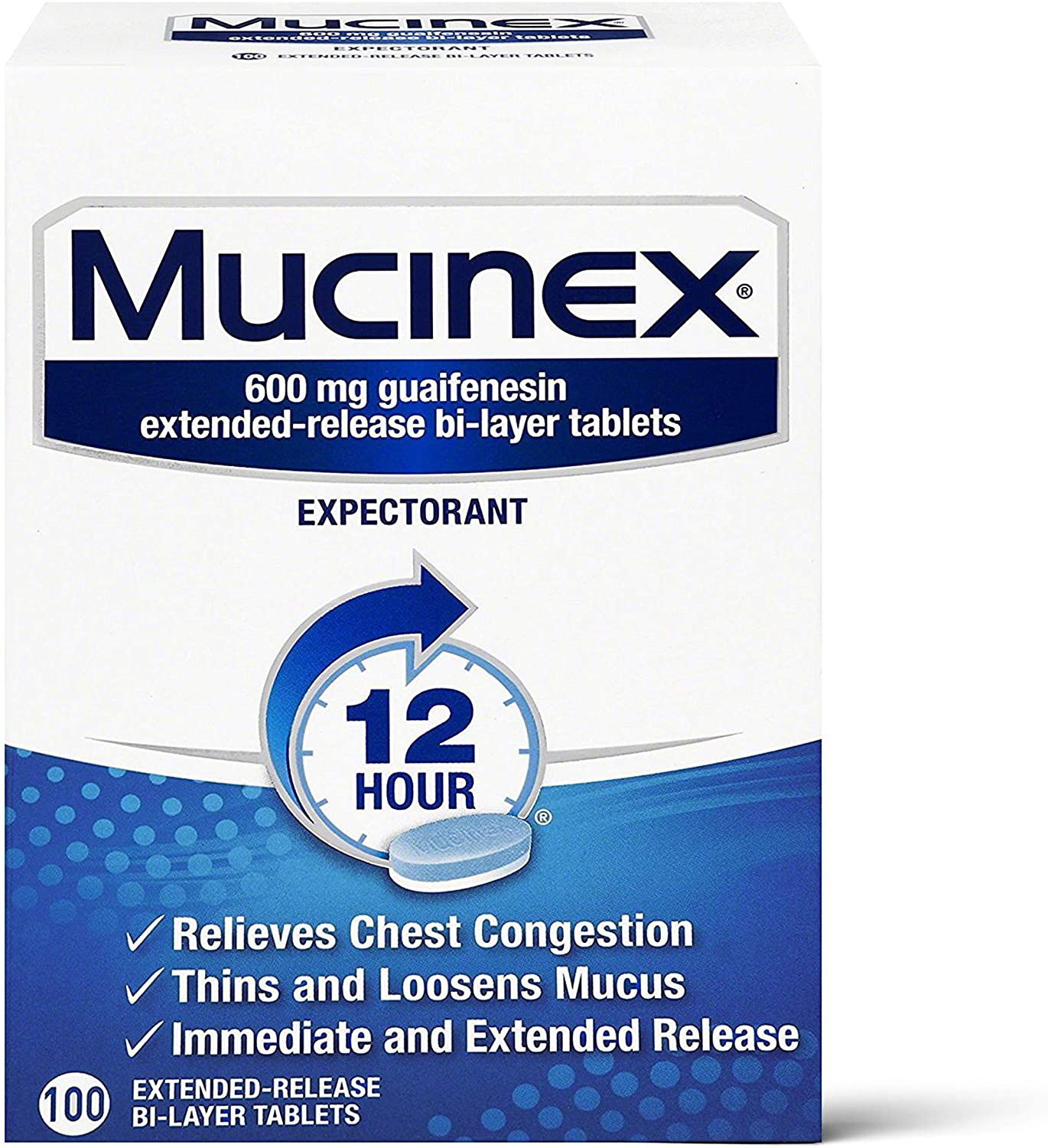 Chest Congestion, Mucinex 12 Hour Extended Release Tablets, 100ct, 600 mg Guaifenesin Relieves Chest Congestion Caused by Excess Mucus, #1 Doctor Recommended OTC expectorant