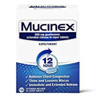 Chest Congestion, Mucinex 12 Hour Extended Release Tablets, 100ct, 600 mg Guaifenesin...