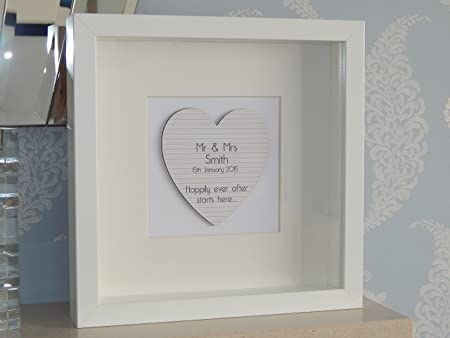 Happily Ever After Starts Here... Mr & Mrs Love Heart Box Frame ...