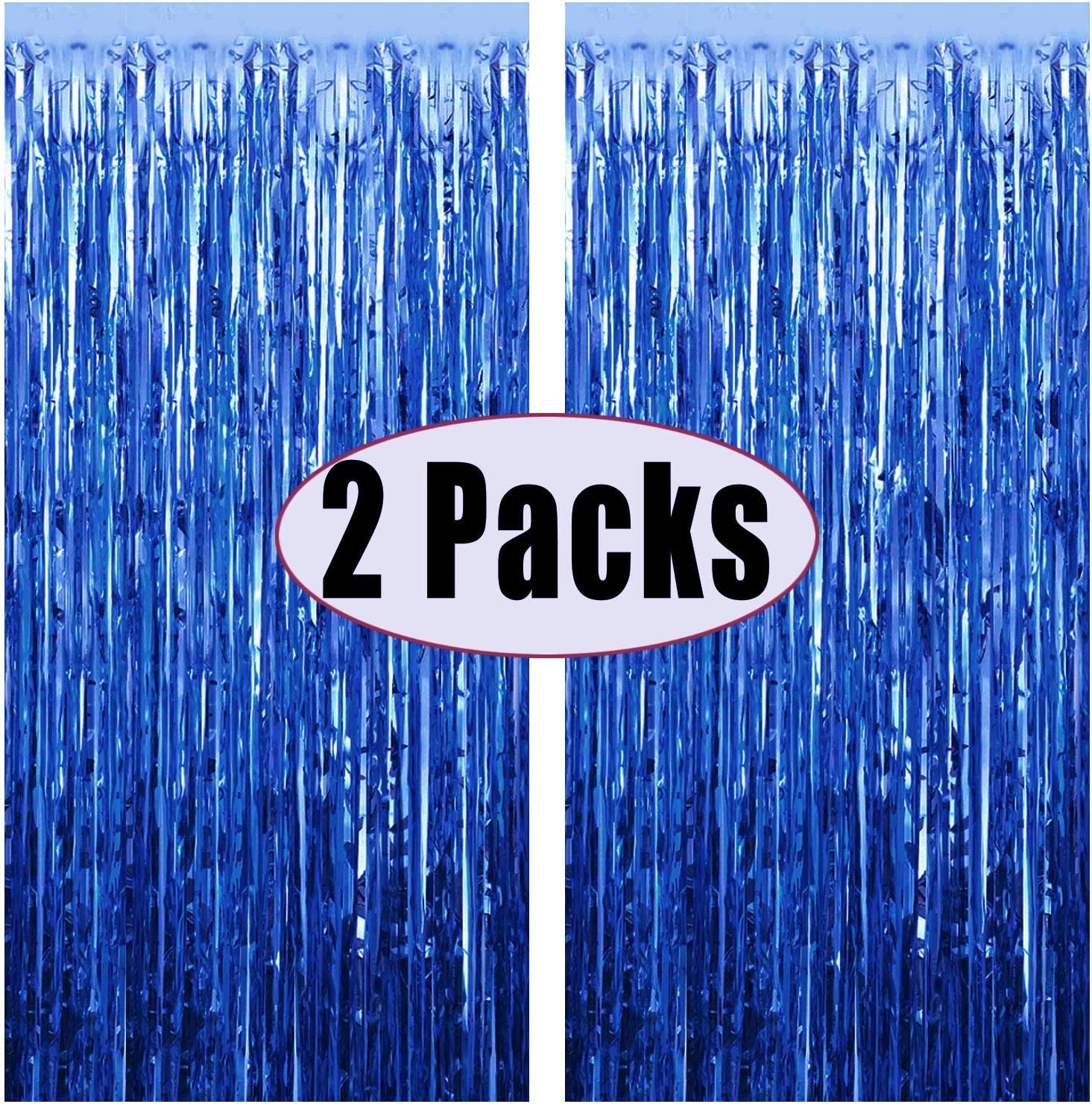 FECEDY 2pcs 3ft x 8.3ft Navy Blue Metallic Tinsel Foil Fringe Curtains Photo Booth Props for Birthday Wedding Engagement Bridal Shower Baby Shower Bachelorette Holiday Celebration Party Decorations