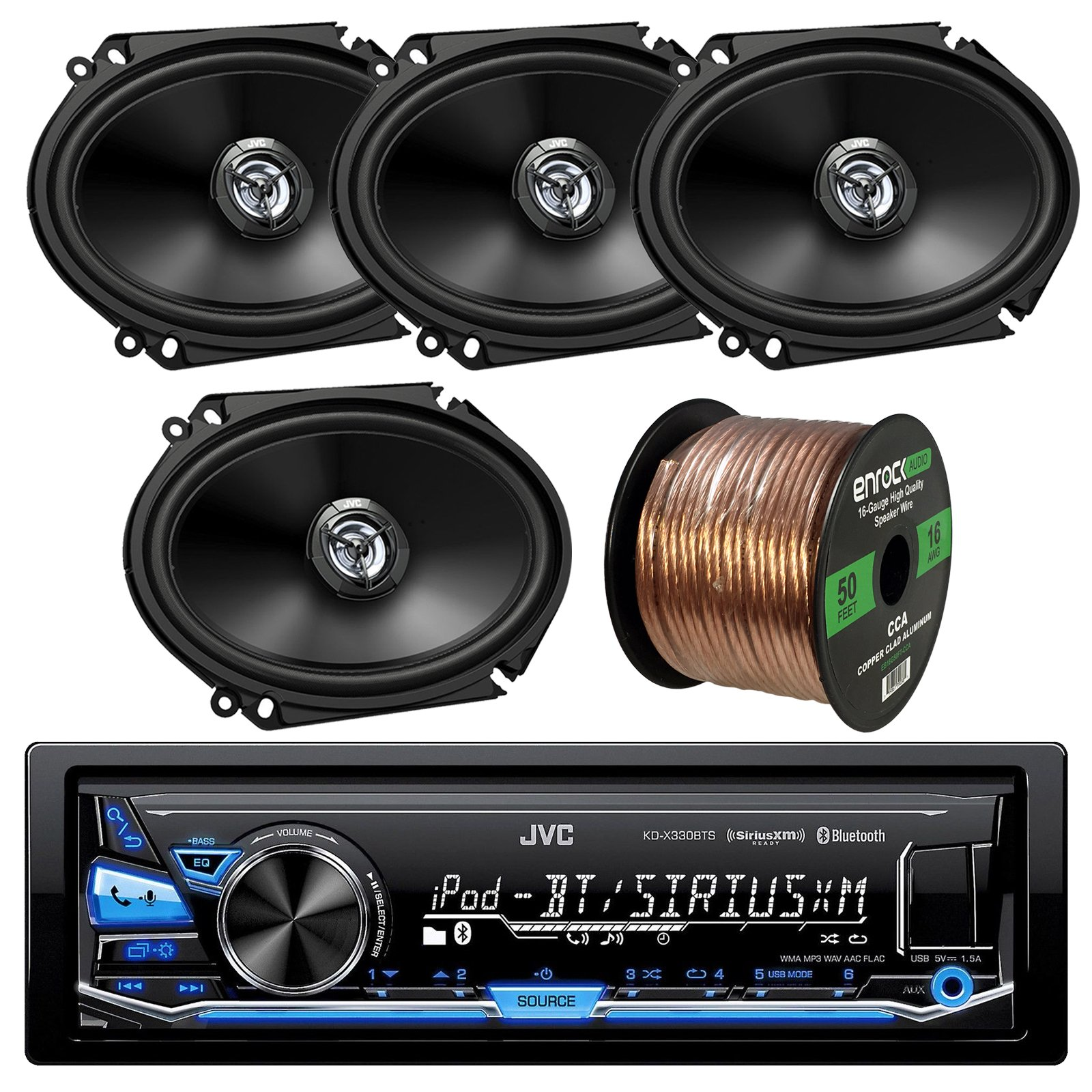 JVC KD-X330BTS AM/FM USB AUX Car Stereo Receiver Bundle Combo With 4x (2 Pairs) CS-DR6820 300-Watt 6x8'' Inch Vehicle Coaxial Speakers + Enrock 50 Feet 16-Gauge Wire
